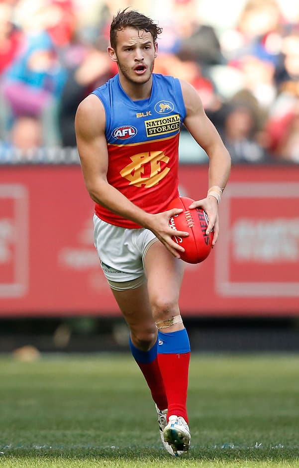 MELBOURNE, AUSTRALIA - JULY 19: James Aish of the Lions in action during the 2015 AFL round 16 match between the Melbourne Demons and the Brisbane Lions at the Melbourne Cricket Ground, Melbourne, Australia on July 19, 2015. (Photo by Adam Trafford/AFL Media)
