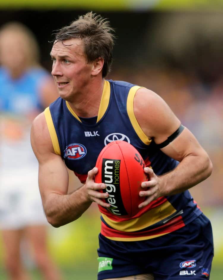 ADELAIDE, AUSTRALIA - JULY 25: Brodie Martin of the Crows during the 2015 AFL round 17 match between the Adelaide Crows and the Gold Coast Suns at Adelaide Oval, Adelaide, Australia on July 25, 2015. (Photo by AFL Media)