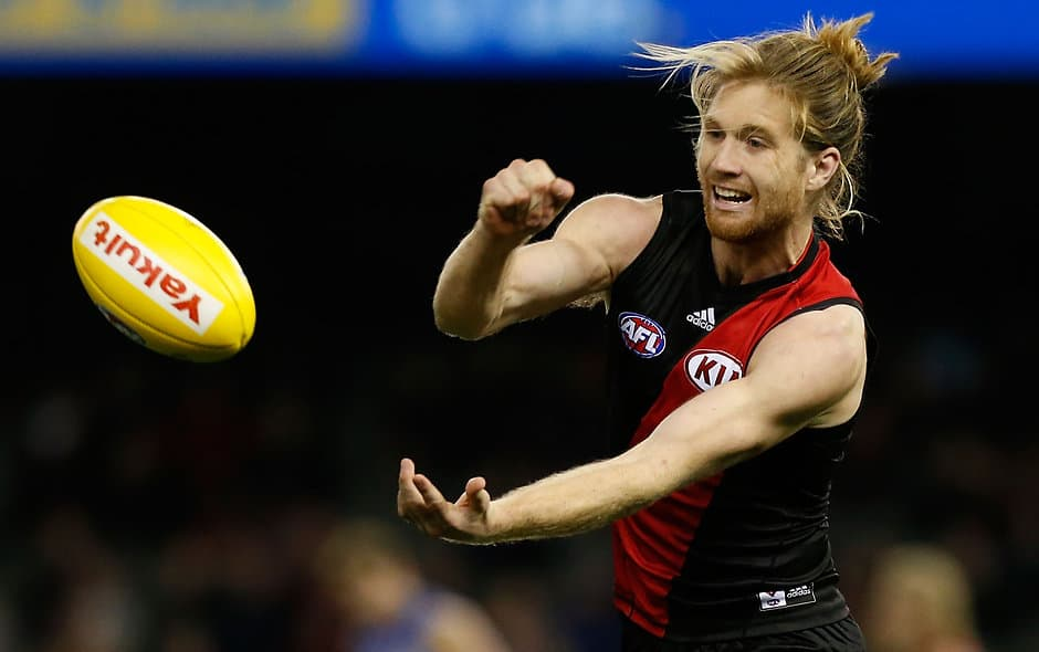 MELBOURNE, AUSTRALIA - AUGUST 2: Ariel Steinberg of the Bombers handpasses the ball during the 2015 AFL round 18 match between the Essendon Bombers and the Western Bulldogs at Etihad Stadium, Melbourne, Australia on August 2, 2015. (Photo by Adam Trafford/AFL Media)