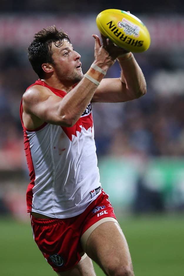 GEELONG, AUSTRALIA - AUGUST 8: Toby Nankervis of the Swans marks the ball during the 2015 AFL round 19 match between the Geelong Cats and the Sydney Swans at Simonds Stadium, Geelong, Australia on August 8, 2015. (Photo by Michael Dodge/AFL Media)