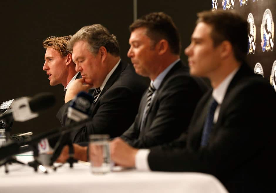 Lachie Keeffe speaks at a press conference, accompanied by Neil Balme, Gary Pery and Josh Thomas - ${keywords}