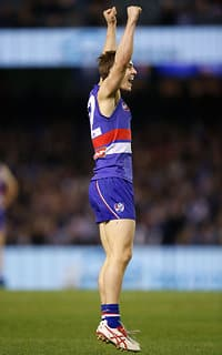 Mitch Honeychurch kicked two goals in the Dogs' tight win over North Melbourne