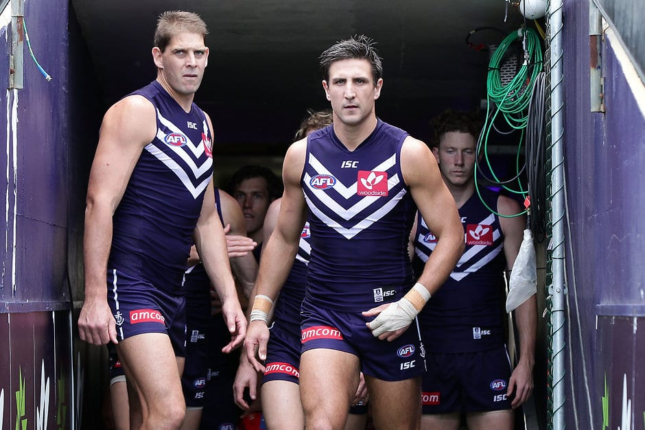 PERTH, AUSTRALIA - AUGUST 30:  Matthew Pavlich of the Dockers leads the team outduring the 2015 AFL round 22 match between the Fremantle Dockers and the Melbourne Demons at Domain Stadium, Perth, Australia on August 30, 2015. (Photo by Will Russell/AFL Media)