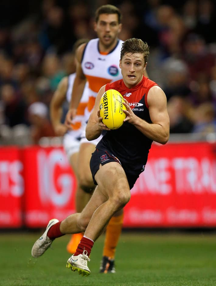 MELBOURNE, AUSTRALIA - SEPTEMBER 6: Viv Michie of the Demons in action during the 2015 AFL round 23 match between the Melbourne Demons and the GWS Giants at Etihad Stadium, Melbourne, Australia on September 6, 2015. (Photo by Michael Willson/AFL Media)