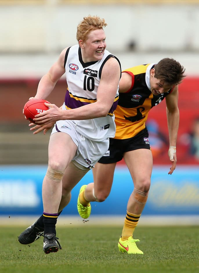 MELBOURNE, AUSTRALIA - SEPTEMBER 06:  Clayton Oliver of Murray runs during the TAC Cup Qualifying Final match between the Dandenong Stingrays and the Murray Bushrangers at Ikon Park on September 6, 2015 in Melbourne, Australia.  (Photo by Robert Prezioso/AFL Media/Getty Images)