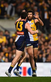 Luke Shuey and Josh Kennedy celebrate as the Eagles leapt into the preliminary final