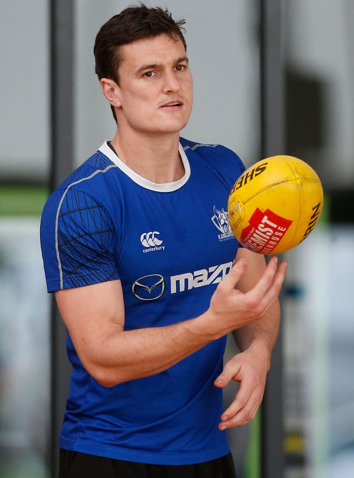 MELBOURNE, AUSTRALIA - SEPTEMBER 15: Scott Thompson of the Kangaroos looks on during the North Melbourne Kangaroos training session at Arden Street, Melbourne on September 15, 2015. (Photo: Adam Trafford/AFL Media)