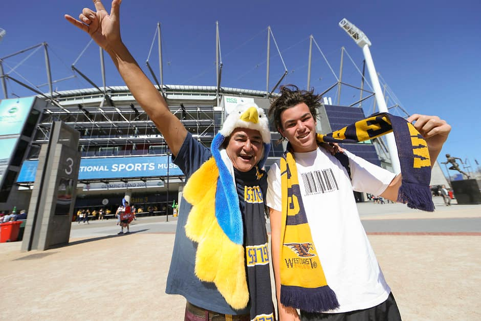 MELBOURNE, AUSTRALIA - OCTOBER 3: West Coast Eagles fans during the 2015 Toyota AFL Grand Final match between the Hawthorn Hawks and the West Coast Eagles at the Melbourne Cricket Ground, Melbourne, Australia on October 3, 2015. (Photo by Greg Ford/AFL Media)