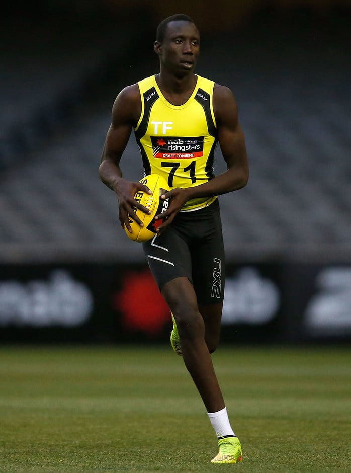 MELBOURNE, AUSTRALIA - OCTOBER 9: Mabior Chol in action during day 1 of the 2015 NAB AFL Draft Combine at Etihad Stadium, Melbourne on October 09, 2015. (Photo: Michael Willson/AFL Media)