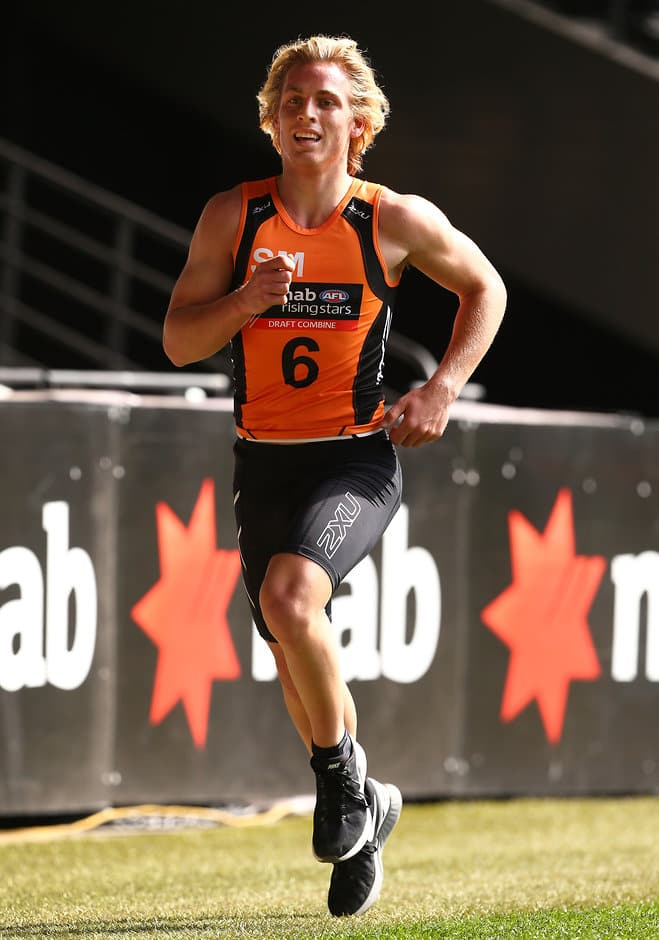 MELBOURNE, AUSTRALIA - OCTOBER 11: Darcy MacPherson runs a 3km time trial during day 3 of the 2015 NAB AFL Draft Combine at Etihad Stadium, Melbourne on October 11, 2015. (Photo: Rob Prezioso/AFL Media)