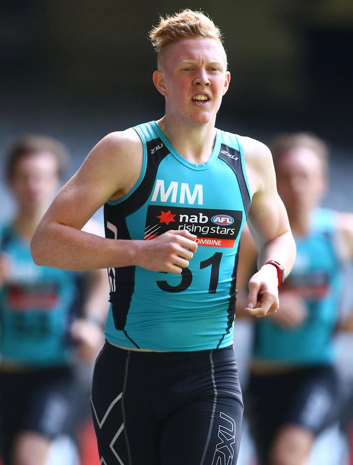 MELBOURNE, AUSTRALIA - OCTOBER 11: Clayton Oliver runs a 3km time trial during day 3 of the 2015 NAB AFL Draft Combine at Etihad Stadium, Melbourne on October 11, 2015. (Photo: Rob Prezioso/AFL Media)