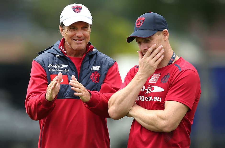 MELBOURNE, AUSTRALIA - NOVEMBER 20: Paul Roos, Senior Coach of the Demons (left) chats with Simon Goodwin, Senior Assistant Coach of the Demons during the Melbourne Demons training session at Gosch's Paddock, Melbourne on November 20, 2015. (Photo: Adam Trafford/AFL Media)
