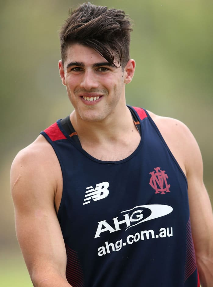 MELBOURNE, AUSTRALIA - NOVEMBER 30: Christian Petracca of the Demons looks on during the Melbourne Demons training session at Gosch's Paddock, Melbourne on November 30, 2015. (Photo: Adam Trafford/AFL Media)