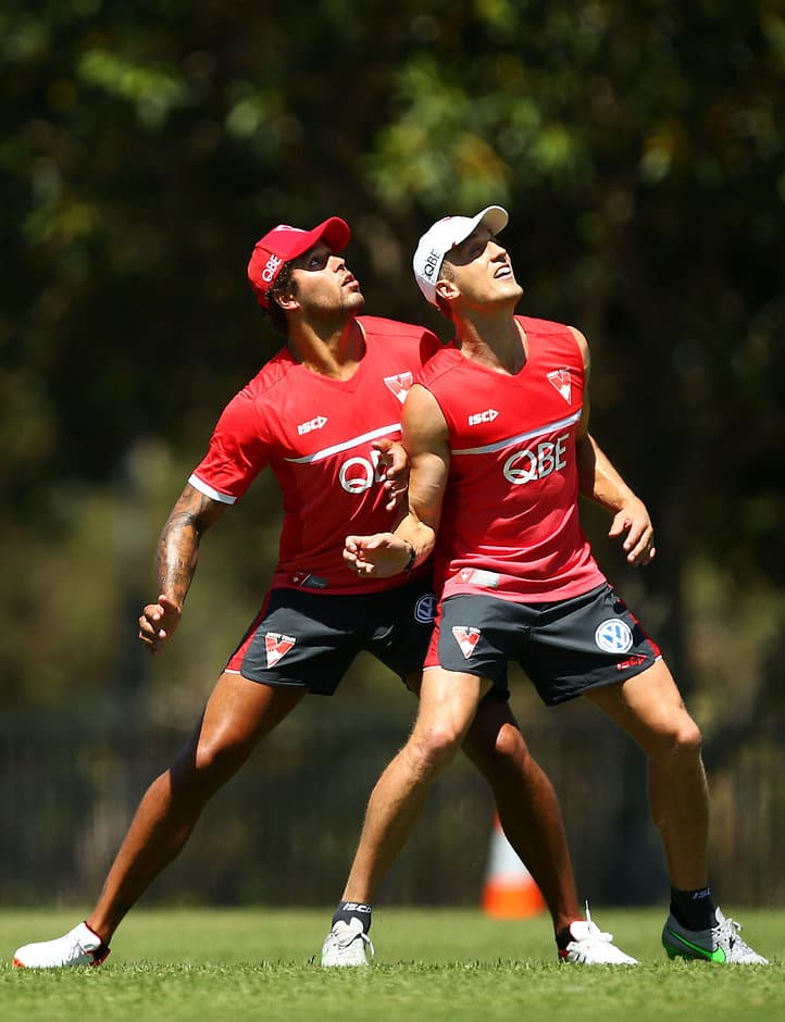 Lance Franklin and Ted Richards compete during training - ${keywords}