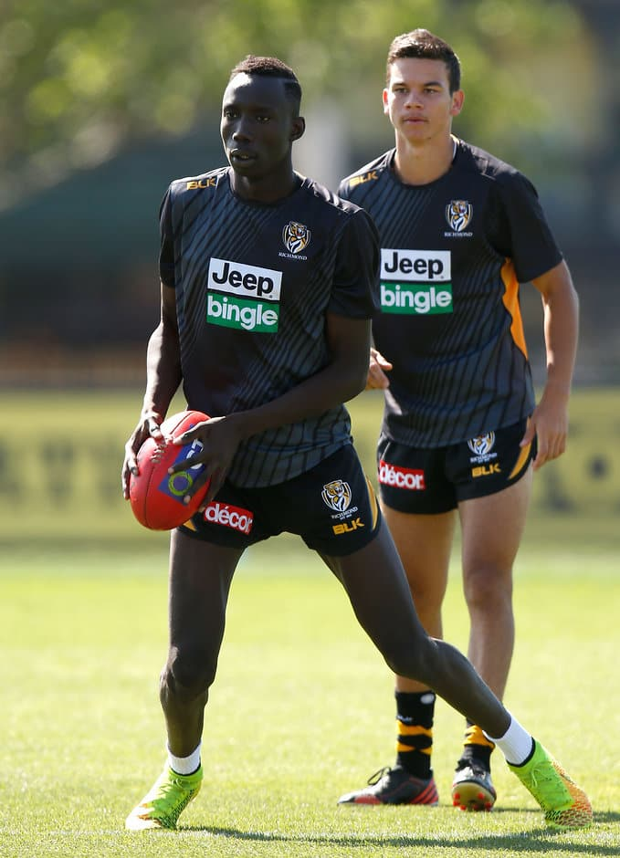 MELBOURNE, AUSTRALIA - DECEMBER 2: Mabior Chol of the Tigers in action during the Richmond Tigers training session at Punt Road Oval, Melbourne on December 2, 2015. (Photo: Michael Willson/AFL Media)