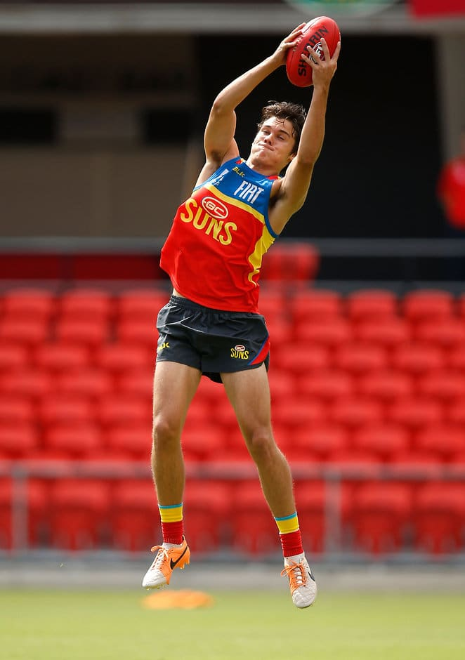 GOLD COAST, AUSTRALIA - DECEMBER 17: Jack Bowes in action during the Gold Coast Suns training session at Metricon Stadium, Gold Coast on December 17, 2015. (Photo: Michael Willson/AFL Media)