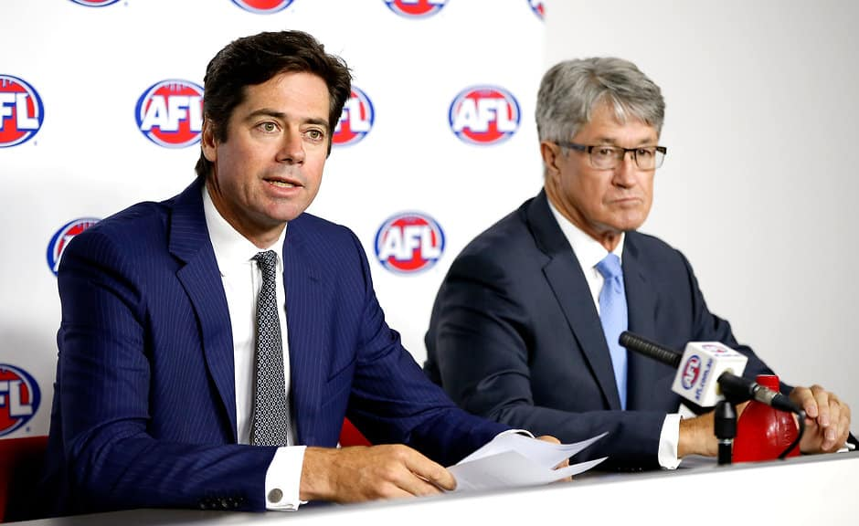 MELBOURNE, AUSTRALIA - JANUARY 12:  AFL CEO Gillon McLachlan and AFL Chairman Mike Fitzpatrick address the media during the AFL press conference in response to the CAS decision regarding bans for Essendon Bombers players at AFL House, Melbourne on January 12, 2016. (Photo: Adam Trafford/AFL Media)