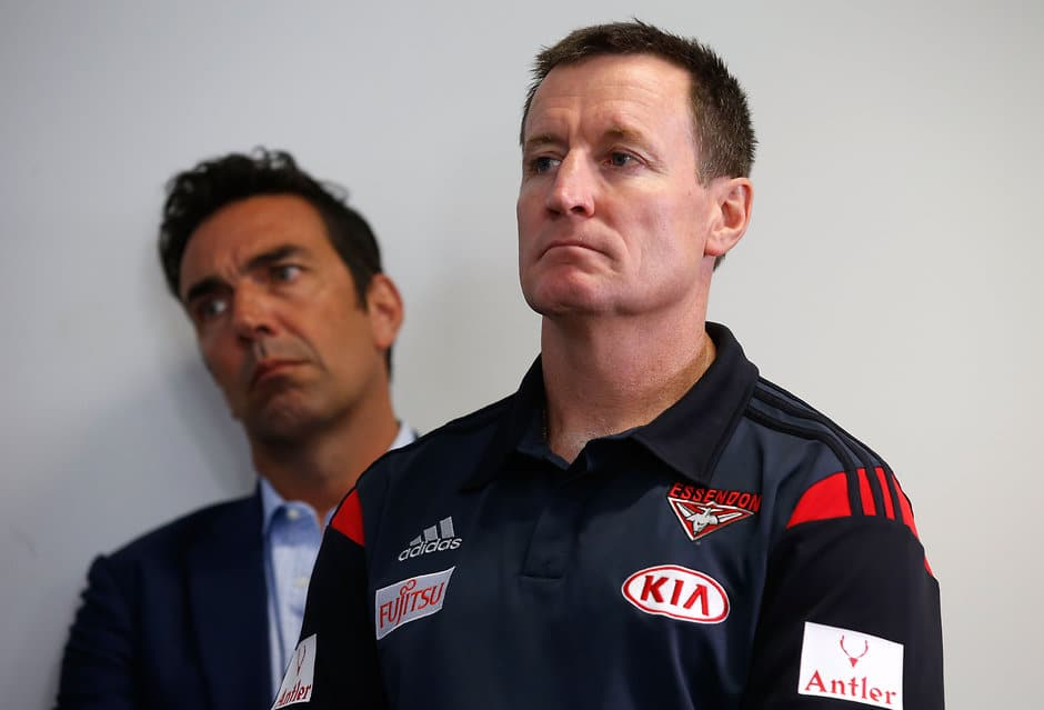 John Worsfold at the Essendon press conference after the CAS verdict in January - ${keywords}