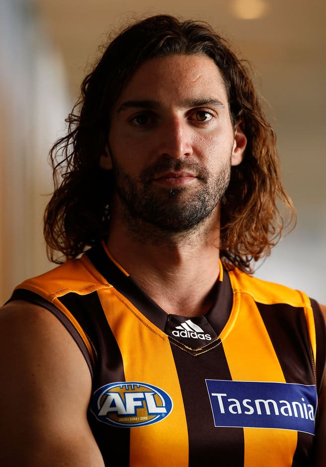 MELBOURNE, AUSTRALIA - FEBRUARY 02: Matt Spangher of the Hawks poses for a portrait during the Hawthorn Hawks official team photo day at the Ricoh Centre in Melbourne, Australia on February 02, 2016. (Photo by Adam Trafford/AFL Media)