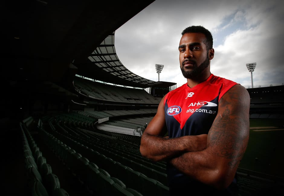 MELBOURNE, AUSTRALIA - FEBRUARY 4: Heritier Lumumba poses for a photograph during the Melbourne Demons official team photo day at the MCG in Melbourne on February 4, 2016. (Photo by Michael Willson/AFL Media)