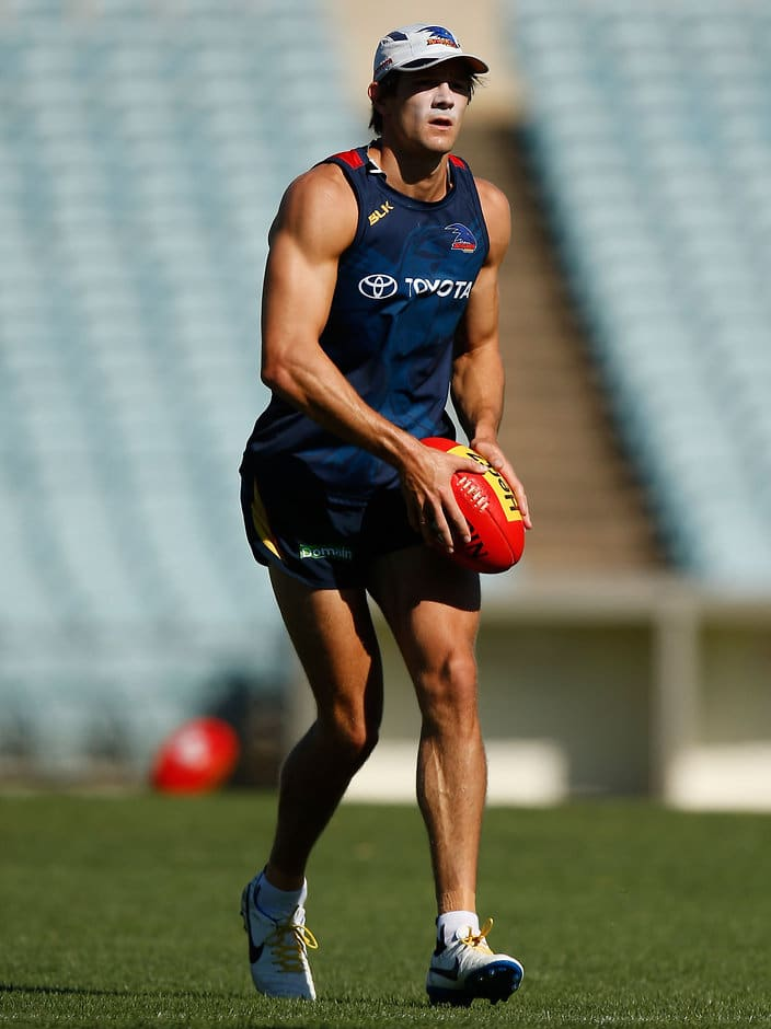 ADELAIDE, AUSTRALIA - FEBRUARY 10: Sam Shaw of the Crows in action during the Adelaide Crows training session at AAMI Stadium in Adelaide on February 10, 2016. (Photo by Michael Willson/AFL Media)