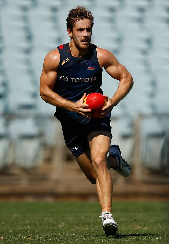 ADELAIDE, AUSTRALIA - FEBRUARY 10: Richard Douglas of the Crows in action during the Adelaide Crows training session at AAMI Stadium in Adelaide on February 10, 2016. (Photo by Michael Willson/AFL Media)