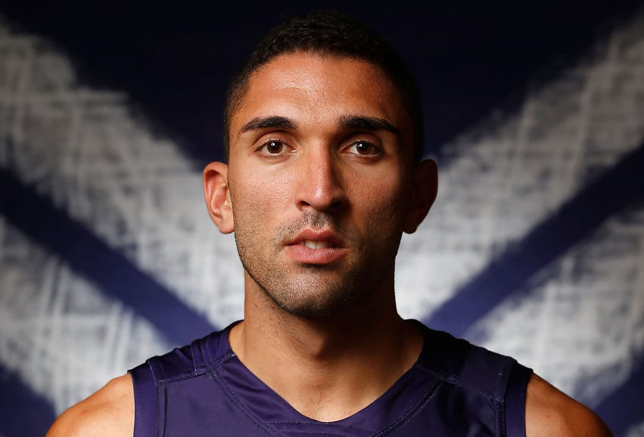 PERTH, AUSTRALIA - FEBRUARY 16: Anthony Morabito of the Dockers poses for a photograph during the Fremantle Dockers 2016 official team photo day at Fremantle Oval in Perth on February 16, 2016. (Photo by Michael Willson/AFL Media)