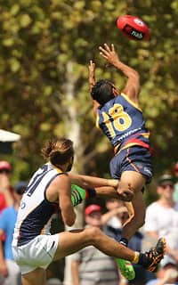 ADELAIDE, AUSTRALIA - FEBRUARY 21: Eddie Betts of the Crows flies over Will Schofield of the Eagles during the 2016 NAB Challenge match between the Adelaide Crows and the West Coast Eagles at Unley Oval, Adelaide on February 21, 2016. (Photo by James Elsby/AFL Media)