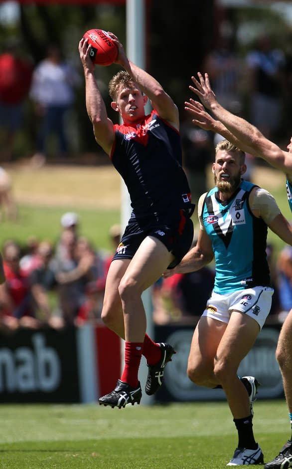 Sam Frost marks strongly on the lead during the Demons' impressive win - ${keywords}