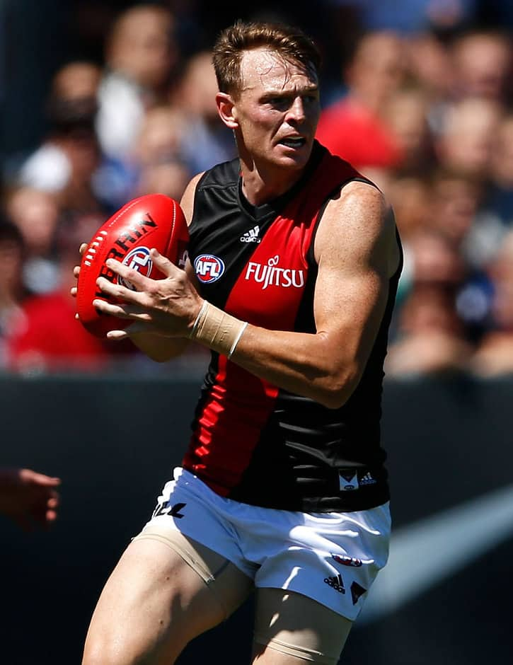 MELBOURNE, AUSTRALIA - FEBRUARY 28: Brendon Goddard of the Bombers in action during the 2016 NAB Challenge match between the Carlton Blues and the Essendon Bombers at Ikon Park, Melbourne on February 28, 2016. (Photo by Adam Trafford/AFL Media)