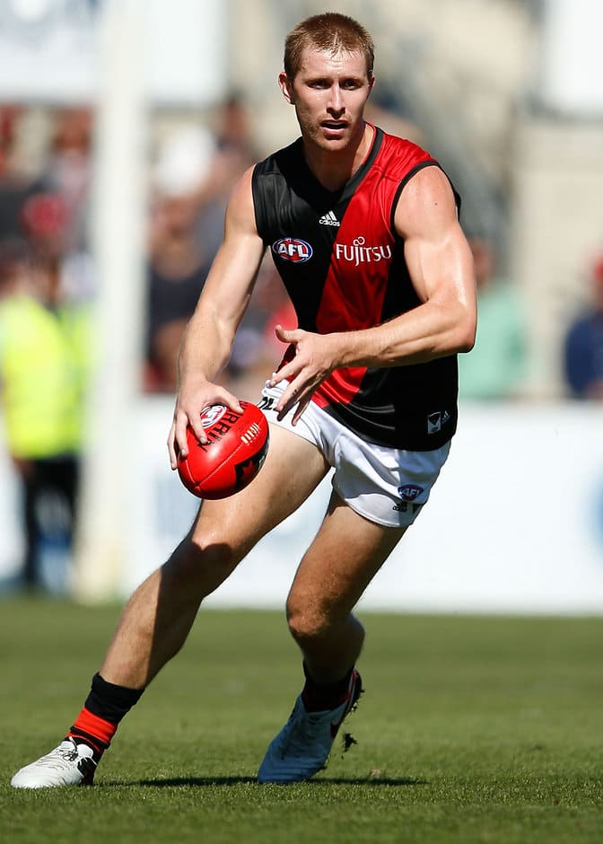 MELBOURNE, AUSTRALIA - FEBRUARY 28: Shaun McKernan of the Bombers in action during the 2016 NAB Challenge match between the Carlton Blues and the Essendon Bombers at Ikon Park, Melbourne on February 28, 2016. (Photo by Adam Trafford/AFL Media)