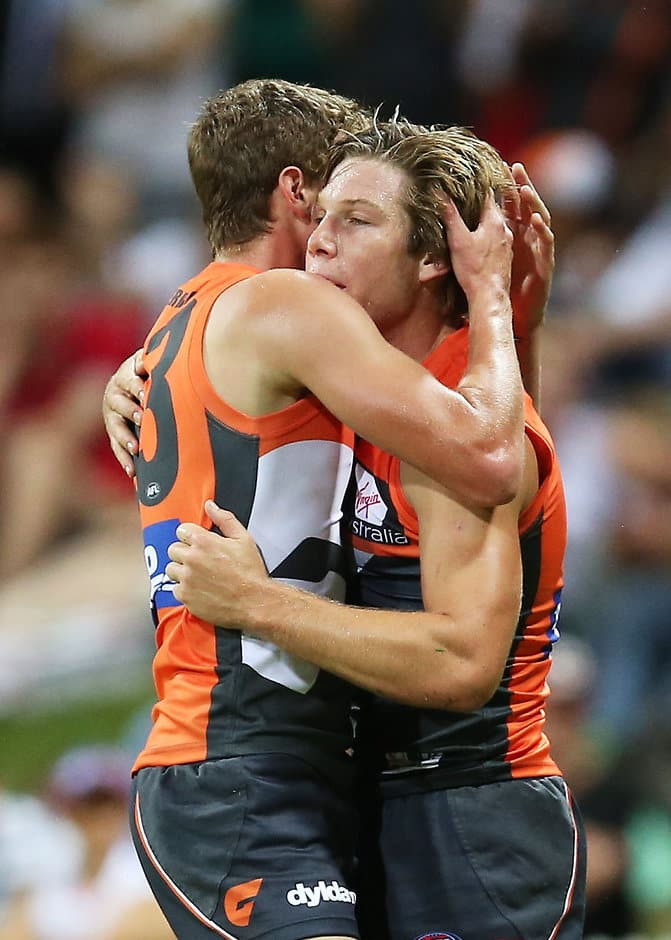 Toby Greene celebrates a goal with Heath Shaw on Friday night - ${keywords}