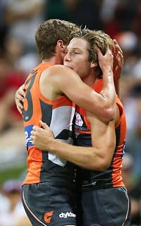 Toby Greene celebrates a goal with Heath Shaw on Friday night