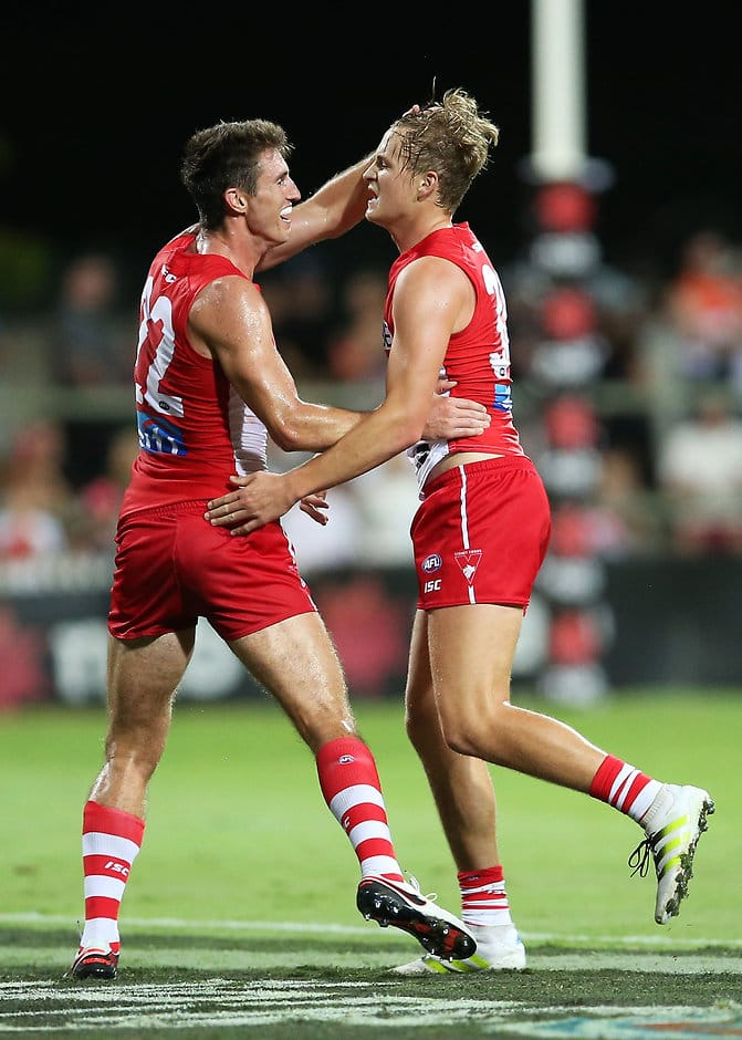Dean Towers congratulates Jordan Dawson after his supergoal on Friday night - ${keywords}