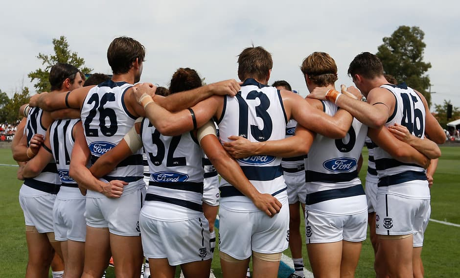 SHEPPARTON, AUSTRALIA - MARCH 5: The Cats huddle before the 2016 NAB Challenge match between the Essendon Bombers and the Geelong Cats at Deakin Reserve, Shepparton on March 5, 2016. (Photo by Michael Willson/AFL Media)