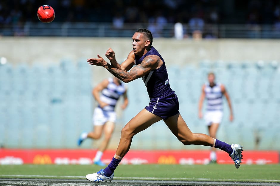Harley Bennell during the Fremantle NAB Challenge clash with Geelong - ${keywords}
