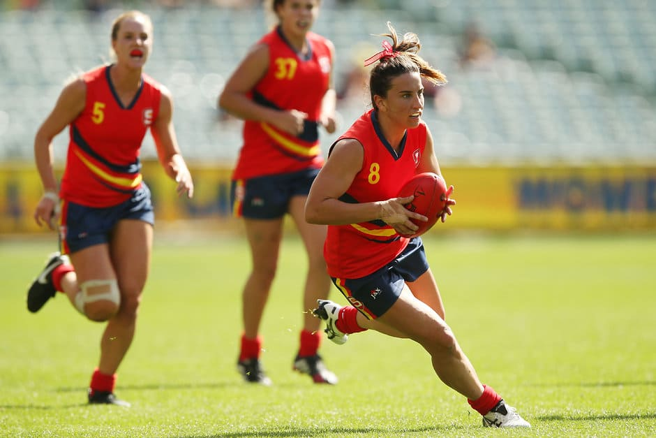 MELBOURNE, AUSTRALIA - APRIL 2: Jessica Sedunary of SA Reds in action during the SANFL All Stars Womens match at Adelaide Oval in Adelaide, Australia on April 2, 2016. (Photo by James Elsby/AFL Media)