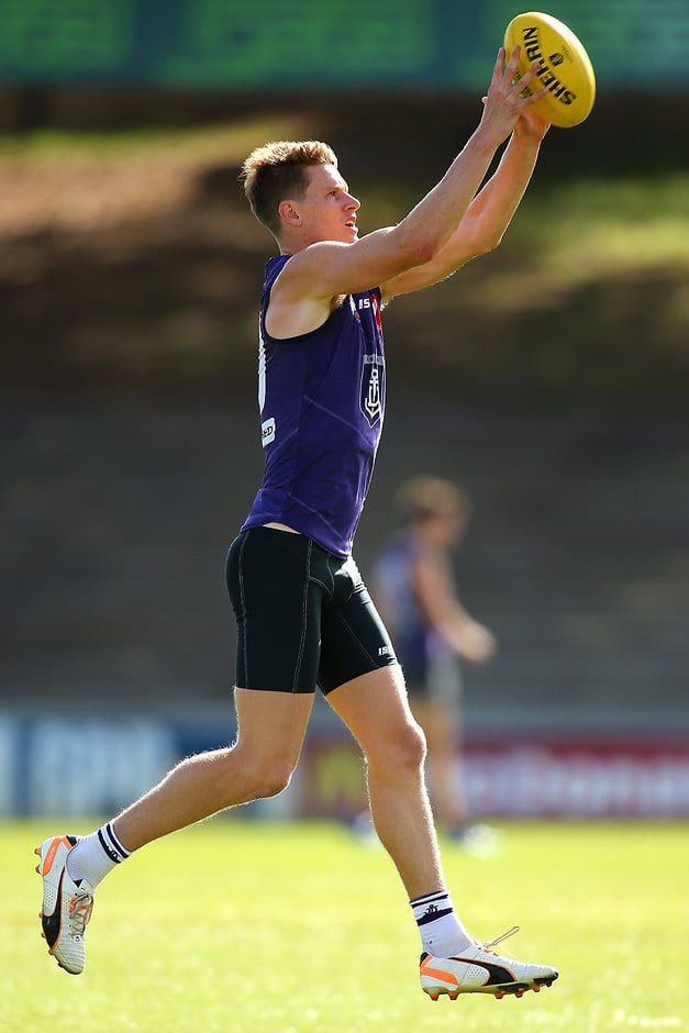 FREMANTLE, WESTERN AUSTRALIA - APRIL 05: Matt Taberner of the Dockers marks the ball during Fremantle Dockers AFL training session at Fremantle Oval on April 5, 2016 in Fremantle, Australia.  (Photo by Paul Kane/AFL Media/Getty Images)