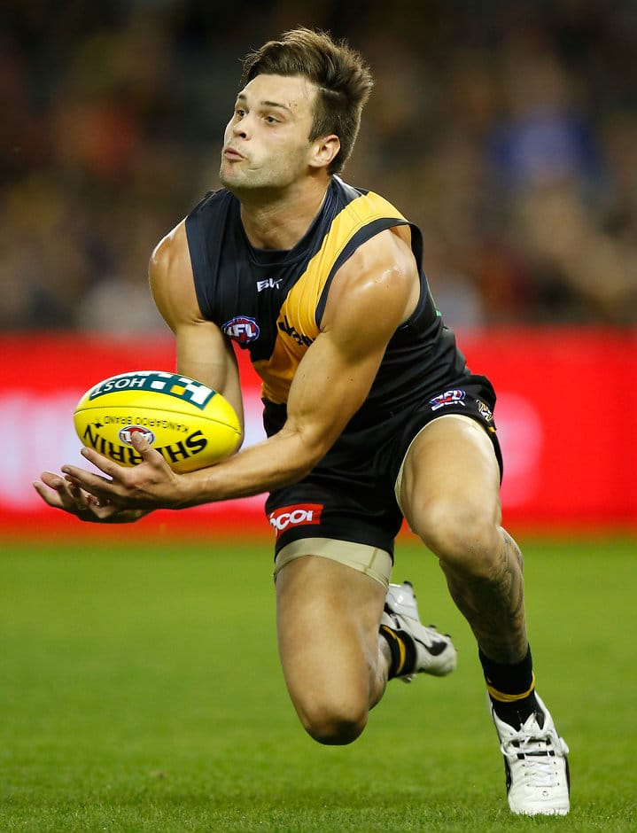 MELBOURNE, AUSTRALIA - APRIL 9: Ben Lennon of the Tigers in action during the 2016 AFL Round 03 match between the Richmond Tigers and the Adelaide Crows at the Etihad Stadium, Melbourne on April 9, 2016. (Photo by Michael Willson/AFL Media)