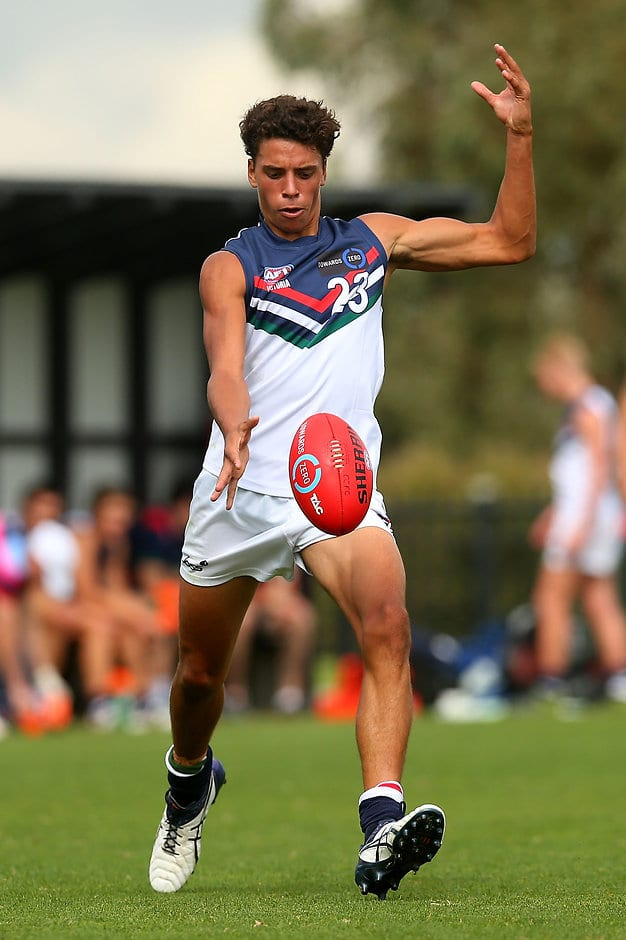 MELBOURNE, AUSTRALIA - APRIL 16:  Ben Davis of the NSW/ACT Rams in action during the round three TAC Cup match between Calder Cannons and NSW/ACT Rams at RAMS Arena on April 16, 2016 in Melbourne, Australia.  (Photo by Graham Denholm/AFL Media/Getty Images)