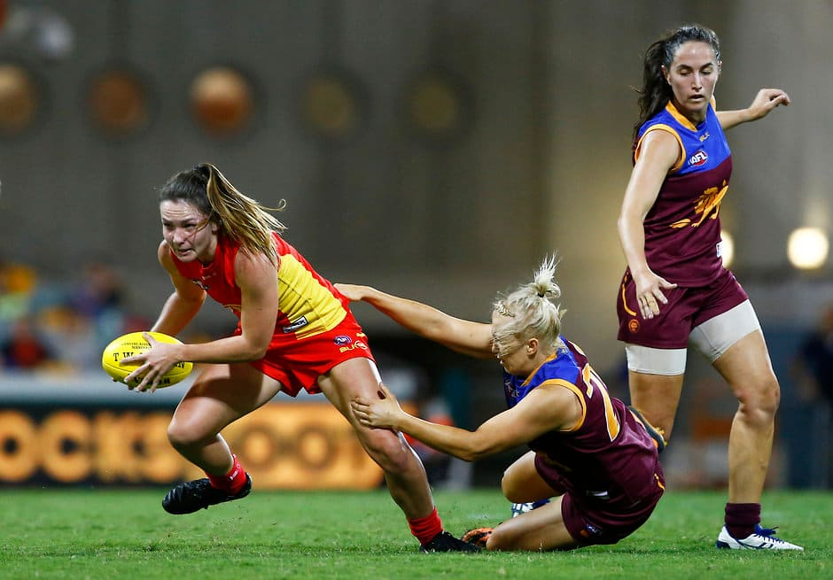 BRISBANE, AUSTRALIA - APRIL 16: Womens AFL match between the Brisbane Lions and the Gold Coast Suns at The Gabba, Brisbane on April 16, 2016. (Photo by Jason O'Brien/AFL Media)