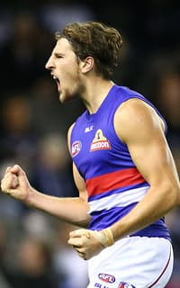 Marcus Bontempelli celebrates a goal on Saturday night