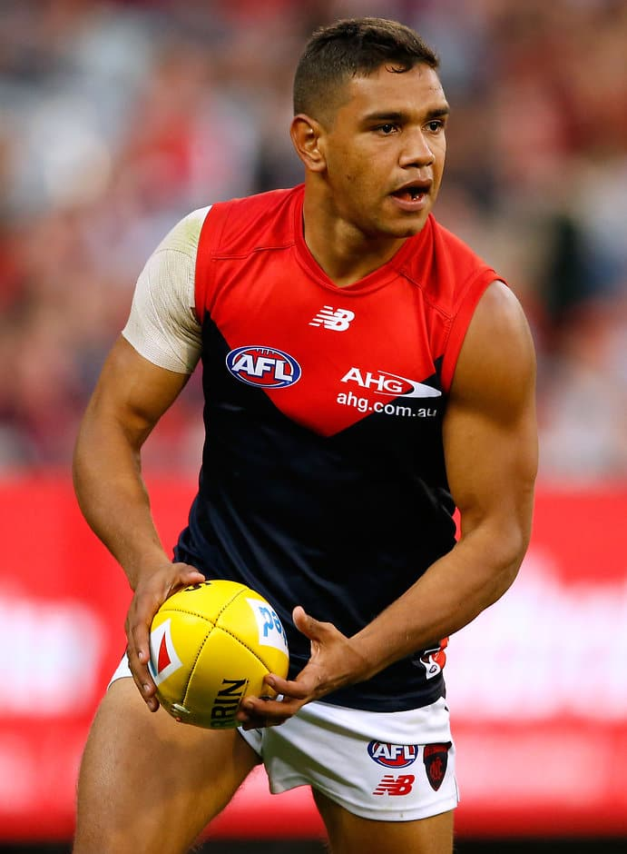 MELBOURNE, AUSTRALIA - APRIL 17: Neville Jetta of the Demons in action during the 2016 AFL Round 04 match between the Collingwood Magpies and the Melbourne Demons at the Melbourne Cricket Ground, Melbourne on April 17, 2016. (Photo by Adam Trafford/AFL Media)