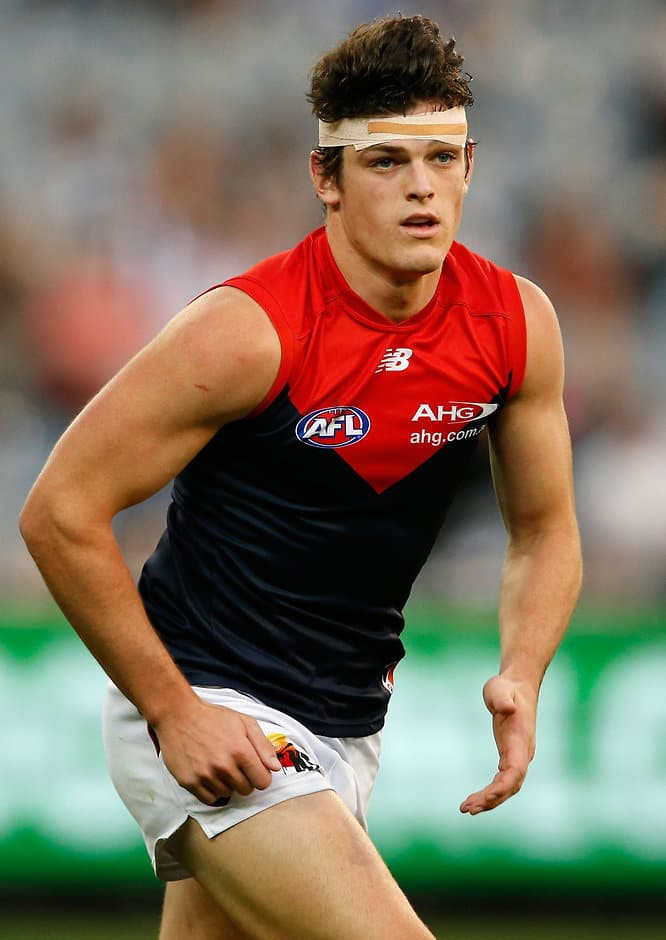 MELBOURNE, AUSTRALIA - APRIL 17: Angus Brayshaw of the Demons in action during the 2016 AFL Round 04 match between the Collingwood Magpies and the Melbourne Demons at the Melbourne Cricket Ground, Melbourne on April 17, 2016. (Photo by Adam Trafford/AFL Media)