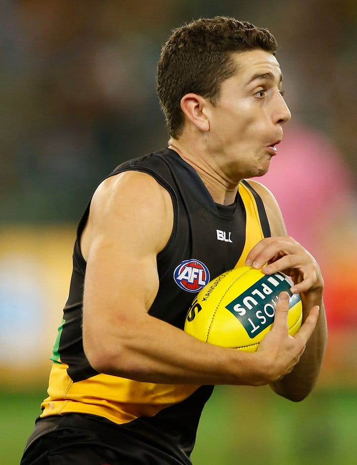 MELBOURNE, AUSTRALIA - APRIL 30: Debutant, Jason Castagna of the Tigers in action during the 2016 AFL Round 06 match between the Richmond Tigers and Port Adelaide Power at the Melbourne Cricket Ground, Melbourne on April 30, 2016. (Photo by Michael Willson/AFL Media)