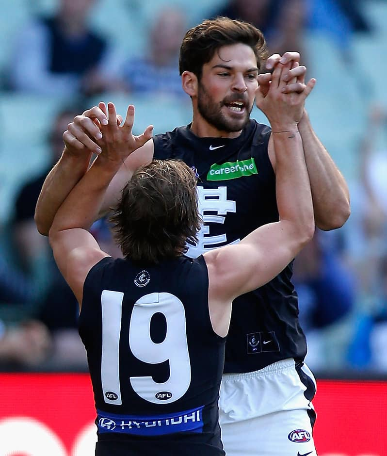 MELBOURNE, AUSTRALIA - MAY 7: Levi Casboult of the Blues celebrates a goal during the 2016 AFL Round 07 match between the Collingwood Magpies and the Carlton Blues at the Melbourne Cricket Ground, Melbourne on May 7, 2016. (Photo by Sean Garnsworthy/AFL Media)