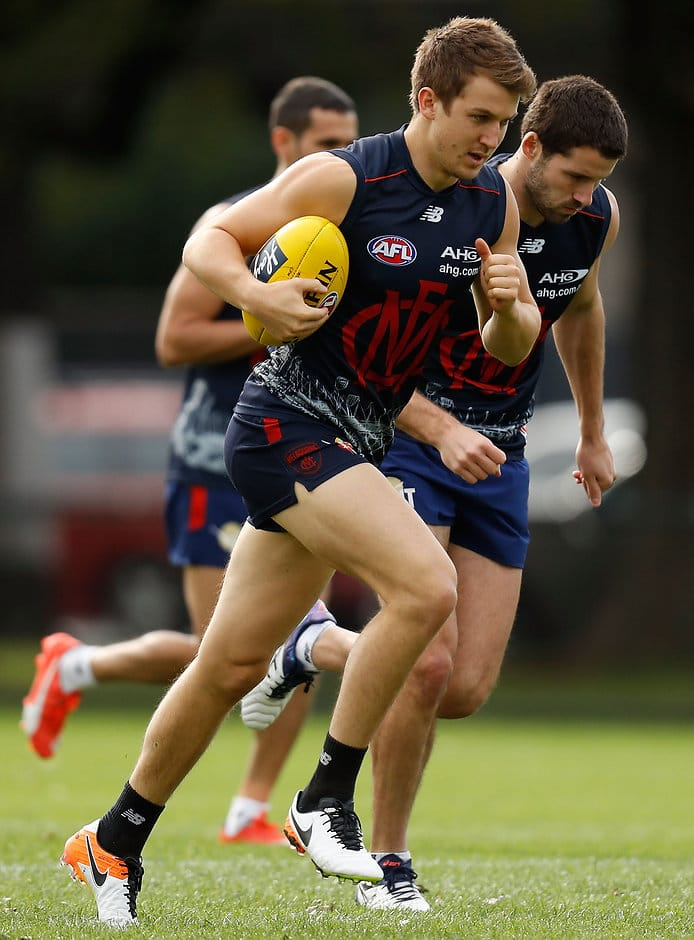 MELBOURNE, AUSTRALIA - MAY 11: Jack Trengove of the Demons in action during the Melbourne Demons training session at Gosch's Paddock in Melbourne on May 11, 2016. (Photo by Michael Willson/AFL Media)