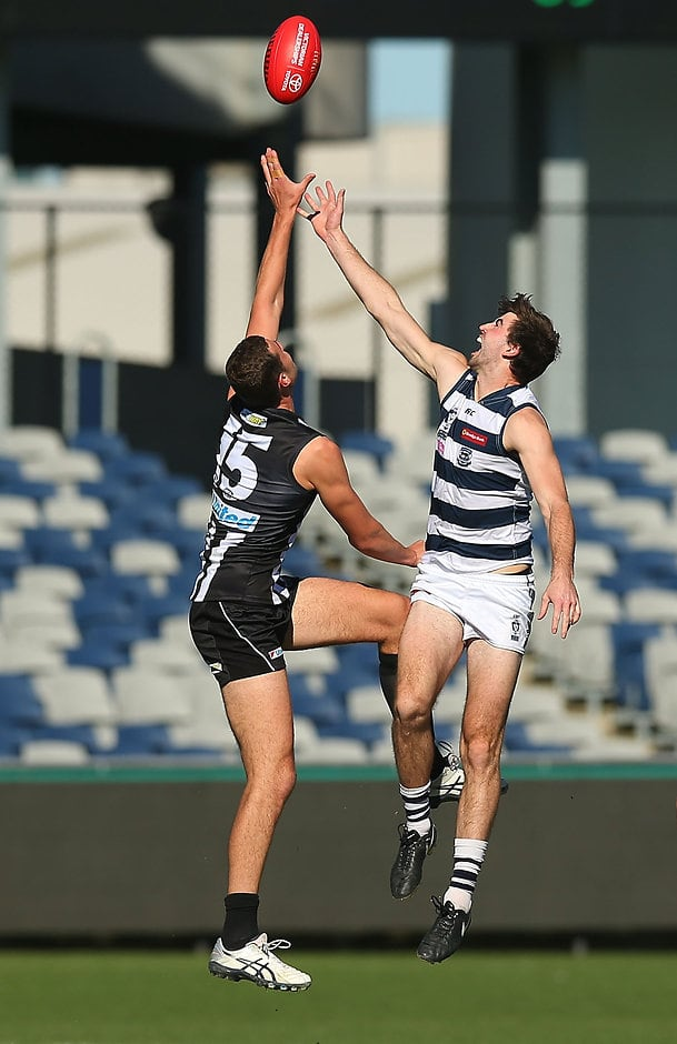 GEELONG, AUSTRALIA - MAY 14:  Ryan Abbott of Geelong (R) and Jarrod Witts of Collingwood compete in the air during the round six VFL match between Geelong and Collingwood on May 14, 2016 in Geelong, Australia.  (Photo by Graham Denholm/AFL Media)