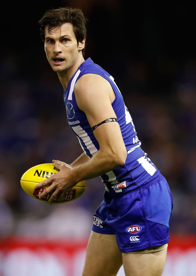 MELBOURNE, AUSTRALIA - MAY 21: Farren Ray of the Kangaroos in action in his first game for the Kangaroos during the 2016 AFL Round 09 match between the North Melbourne Kangaroos and the Carlton Blues at Etihad Stadium on May 21, 2016 in Melbourne, Australia. (Photo by Adam Trafford/AFL Media)