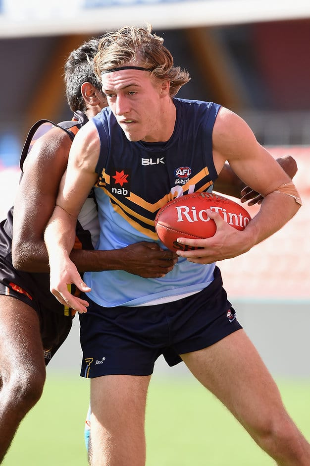 GOLD COAST, AUSTRALIA - MAY 22: Will Setterfield of NSW/ACT is tackled during the Under 18 Championship match between NSW/ACT and Northern Territory at Metricon Stadium on May 22, 2016 in Gold Coast, Australia. (Photo by Matt Roberts/AFL Media)
